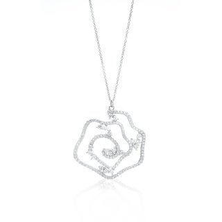 Blue Box Jewels Rhodium-plated Silver EQ Star Cubic Zirconia Flower Necklace