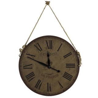 'Chance' Wood and Burlap Rustic Clock