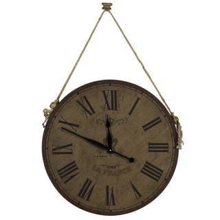 'Chance' Wood and Burlap Rustic Clock
