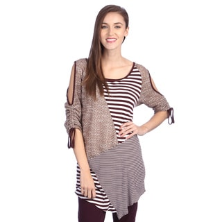 Lily Women's Splice Striped Cold Shoulder Top
