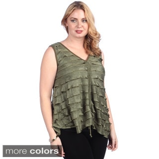 Lily Women's Plus Size Ruffled Tie-front Vest