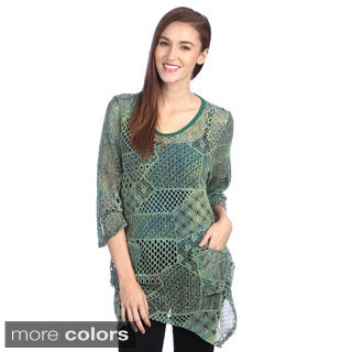 Firmiana Lily Women's 3/4-length Sleeve Mesh Top
