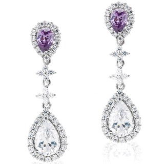 Blue Box Jewels Rhodium-plated Silver Purple and White CZ Earrings