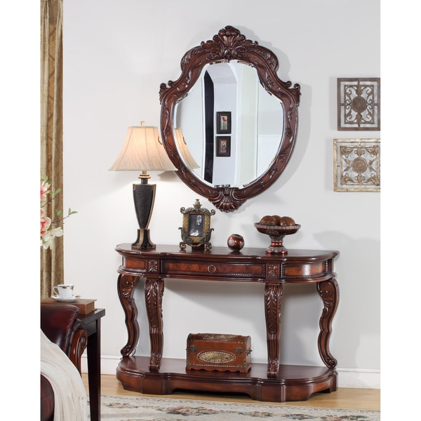 Foyer Set Mirror And Console Table : Gold leaf inch round mirror set of