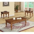 Transitional Brown 3-piece Coffee Table Set