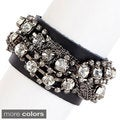 KC Signatures Black Leather and Metal Rhinestone Bracelet