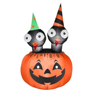 Halloween Airblown Inflatable Crows Nest Jac-O-Lantern Scene