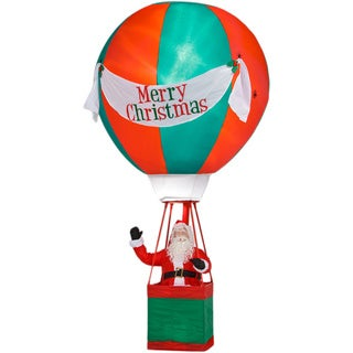 Airblown Realistic Santa in Hot Air Balloon