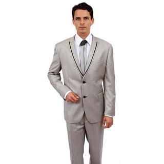 Tazio Men's Slim Fit Grey Rayon/ Viscose 2-button Suit