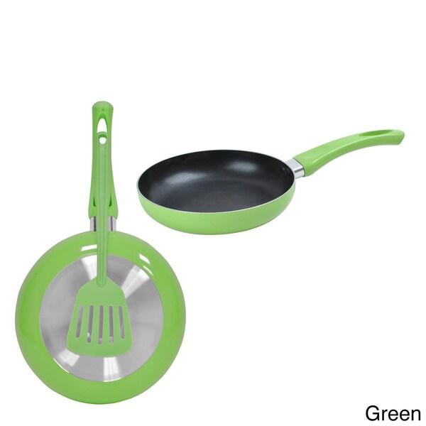 Non-stick Aluminum Fry Pan and Matching Spatula Set of 2