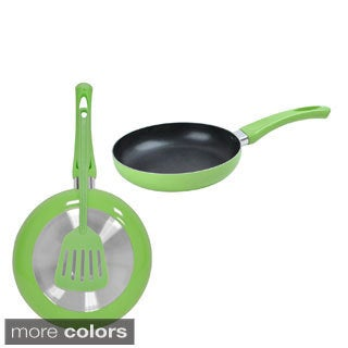 Non-stick Aluminum Fry Pan and Matching Spatula Set of 2
