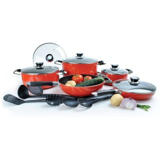 Non-Stick Red Aluminum 16-piece Cookware Set