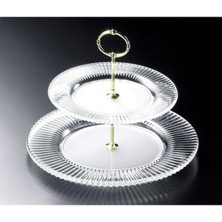 Red Vanilla Diamond Fire 12-inch Two-tier Serving Plate