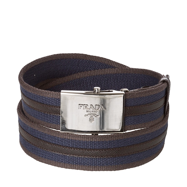 Prada Men\u0026#39;s Navy/ Brown Fabric Web Belt - 15703834 - Overstock.com ...