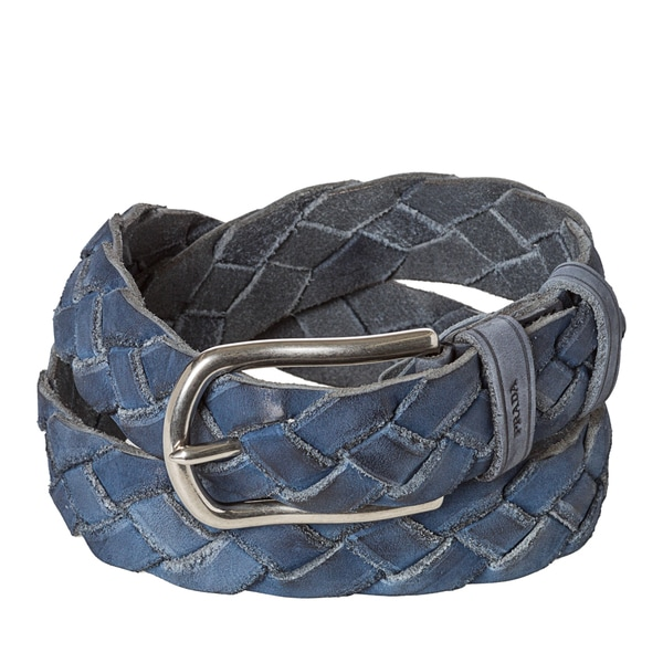 Prada Women\u0026#39;s Blue Braided Leather Belt - 15703836 - Overstock.com ...