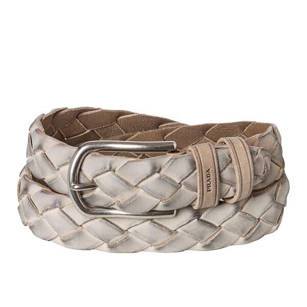 authentic prada handbags for less - Prada Women's Grey Braided Leather Belt - 15703837 - Overstock.com ...