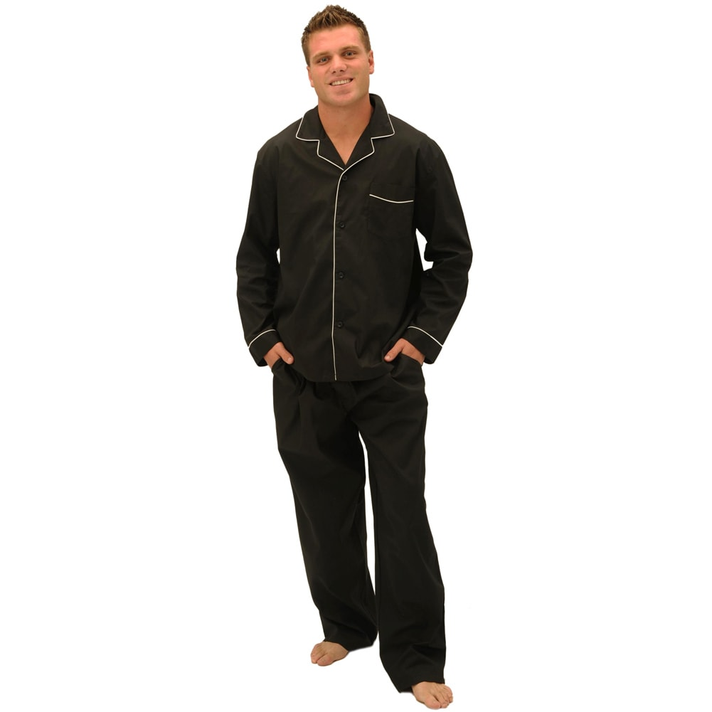 Del Rossa Men's Soft Woven Cotton Pajama Set