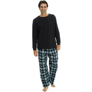 Del Rossa Men's Knit Top and Flannel Pants Pajama Set