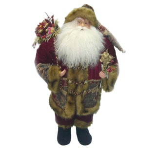 Standing Vintage Burgundy Suit Santa Holding Staff and Gift Bag