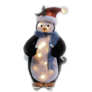 Skiing Penguin with 35 Clear Mini Lights