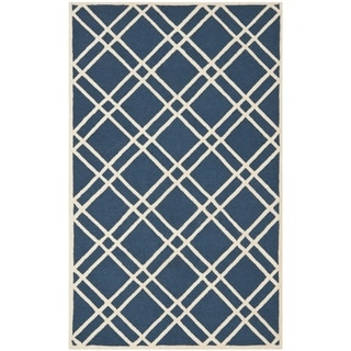 Safavieh Handmade Moroccan Cambridge Crisscross-pattern Navy/ Ivory Wool Rug (6' x 9')