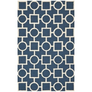 Durable Safavieh Handmade Moroccan Cambridge Navy/ Ivory Wool Rug (9' x 12')