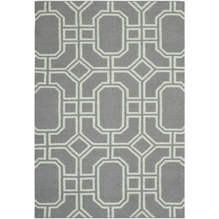 Safavieh Hand-woven Moroccan Dhurrie Grey/ Light Blue Wool Rug (3' x 5')
