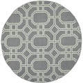 Safavieh Hand-woven Moroccan Dhurrie Grey/ Light Blue Wool Rug (6' Round)