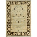 Safavieh Hand-knotted Oushak Light Blue/ Brown Wool Rug (4' x 6')