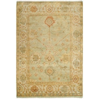Safavieh Hand-knotted Oushak Dark Green/ Light Green Wool Rug (4' x 6')