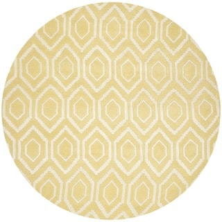 Safavieh Contemporary Handmade Moroccan Chatham Light Gold/ Ivory Wool Rug (7' Round)