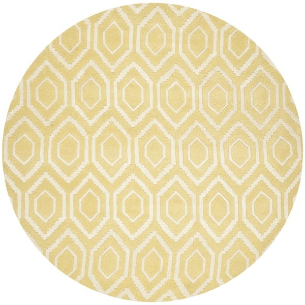 Safavieh Contemporary Handmade Moroccan Chatham Light Gold/ Ivory Wool Rug (7' Round)