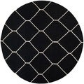 Safavieh Handwoven Moroccan Reversible Dhurrie Black/ Ivory Wool Rug with .25-inch Pile (6' Round)