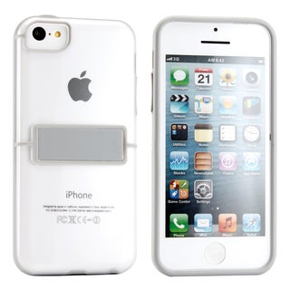 Gearonic Light Gray Gel Hard Case Cover with Kickstand for iPhone 5C