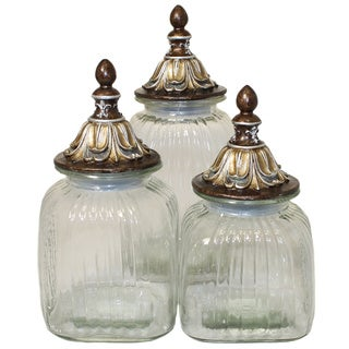 Casa Cortes 'Baroque' 3-piece Glass Canister Set