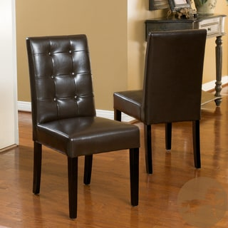 Christopher Knight Home 'Roland' Brown Bonded Leather Dining Chairs (Set of 2)