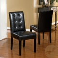 Christopher Knight Home 'Roland' Black Leather Dining Chairs (Set of 2)