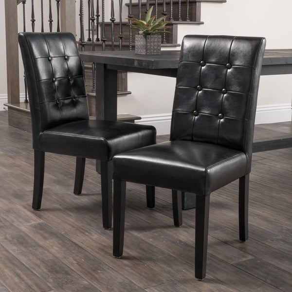 Christopher Knight Home Roland Black Leather Dining Chairs