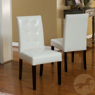 Christopher Knight Home 'Roland' Ivory Leather Dining Chairs (Set of 2)