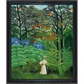 Henri Rousseau 'Woman Walking in an Exotic Forest' Hand Painted Framed Canvas Art