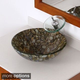 Elite Sea Rocks Double Layer Glass Bowl Bathroom Vessel Sink/ Waterfall Faucet Combo
