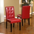 Christopher Knight Home 'Roland' Red Leather Dining Chairs (Set of 2)