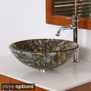 Elite Sea Rocks Double Layer Glass Bowl Bathroom Vessel Sink/ Faucet Combo