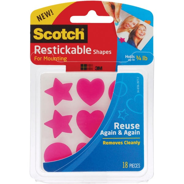 "Scotch Restickable Mounting Tabs 7/8"" x 7/8"" 18/Pack"