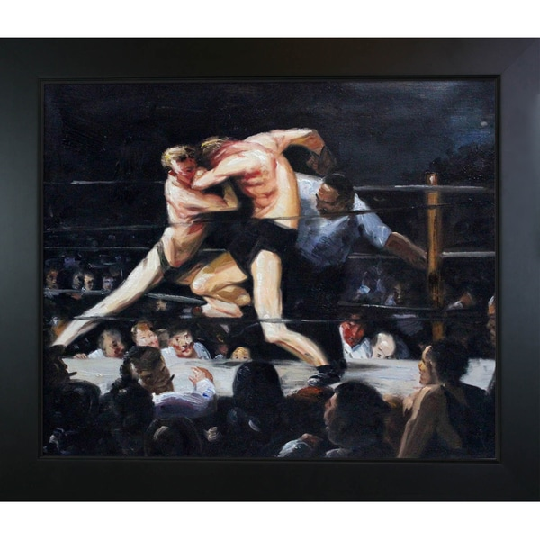 George Wesley 'Bellows Stag Night at Sharkey's' Hand Painted Framed Canvas Art