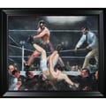 George Wesley 'Bellows Dempsey and Firpo' Hand Painted Framed Canvas Art