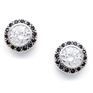 Sunstone Sterling Silver Round Earrings made with Swarovski Zirconia with Gift Box
