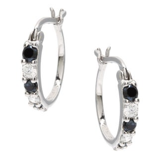 Sunstone Sterling Silver Round Hoop Earrings made with Swarovski Zirconia with Gift Box