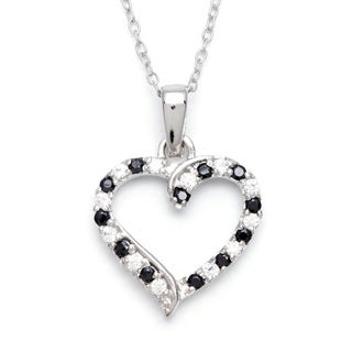 Sunstone Sterling Silver Open Heart Necklace Made with Swarovski Zirconia