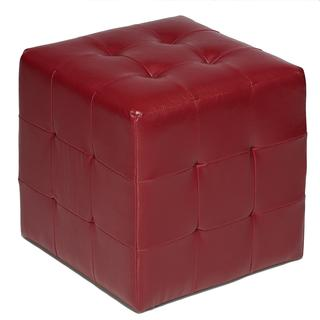 Cortesi Home Braque Red Faux Leather Cube Ottoman